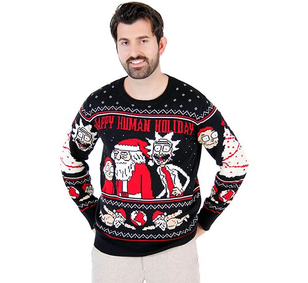 Rick and Morty Happy Human Holiday Ugly Christmas Sweater.png