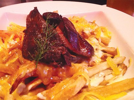 Braised Beef Cheeks with Hudson Valley Foie Gras and Sequatchie Cove Cumberland cheese fries from The Meeting Place