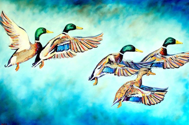 Mallards on Blue