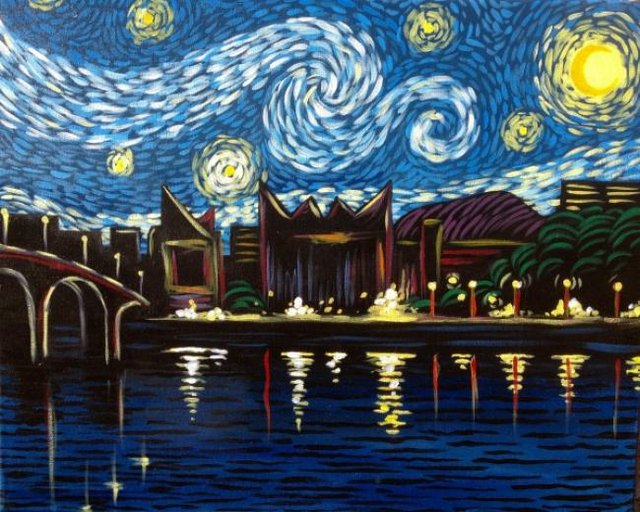 """Painting Workshop: """"Starry Night Over Chattanooga"""""""