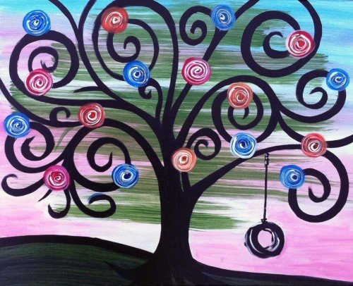 """Painting Workshop: Daytime - """"Swirly Tree with Swing"""""""