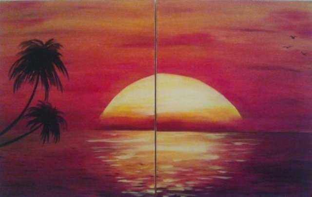"""Painting Workshop: Two Canvas Friend or Date Night - """"Beach Painting'"""