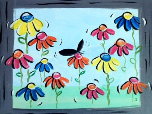 """Painting Workshop: """"Spinning Daisies"""" --Family Night"""