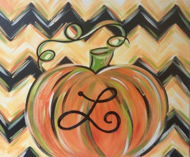 Painting Workshop: Monogram Chevron Pumpkin