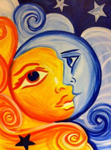 Easy Sun And Moon Canvas Painting Www Picsbud Com