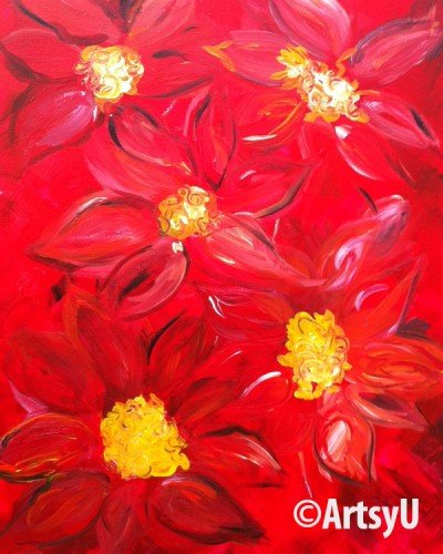 Painting Workshop: Abstract Poinsettias
