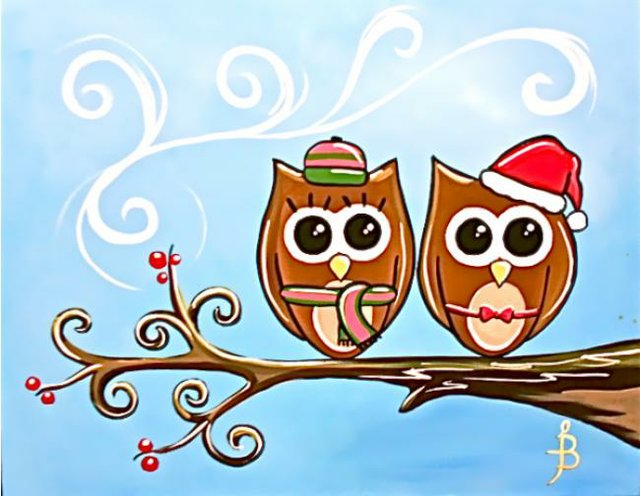 Painting Workshop: Funky Christmas Owls