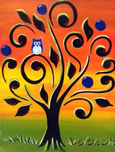 Painting Workshop: Owl in Swirly Tree