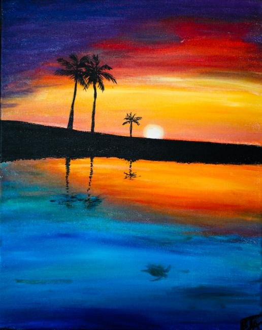 Easy Beach Sunset Paintings | www.imgkid.com - The Image ...