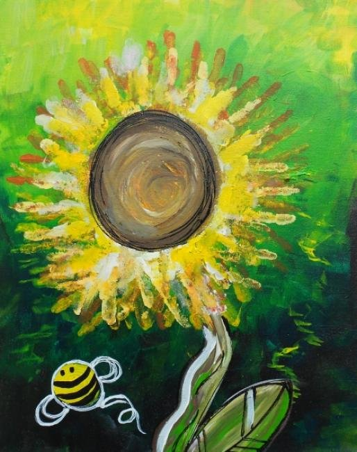 Paint with your toddler! Sunflower Fingerprint Class