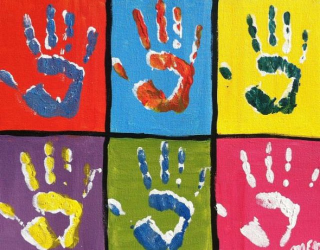 Paint with your toddler! Handprints