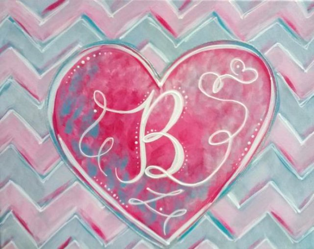 Painting Workshop: Chevron Valentine