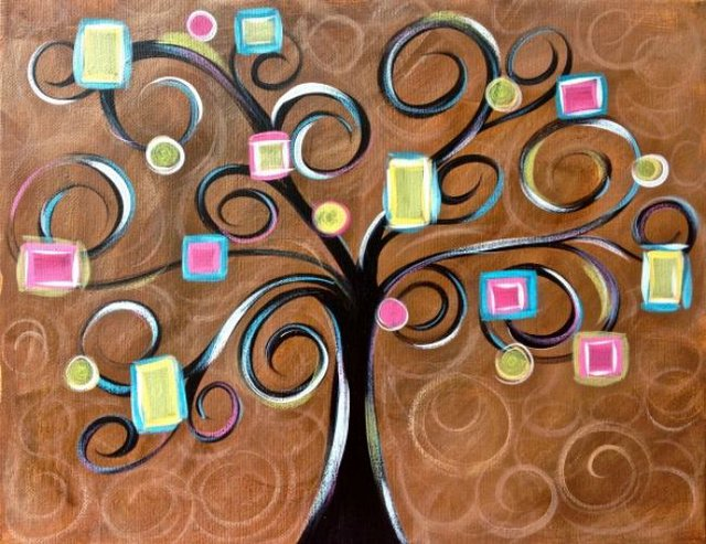 Painting Workshop: Anti-Valentines Night Out: Funky Swirly Tree