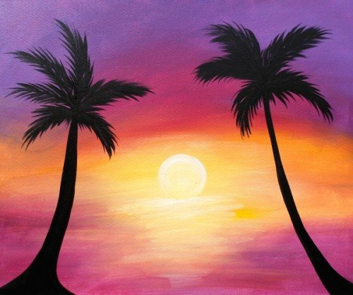 Painting workshop palm tree sunset the pulse for Painting palm trees