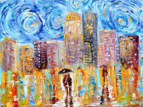 Painting Workshop: Karen Tarlton's Starry Night Over City Scape