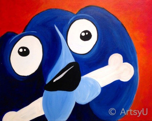 Painting Workshop: Blue Winnie Dog